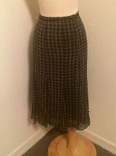 Ann Klein Black Abstract Houndstooth Pattern Godet Silk A Line Skirt Size 12