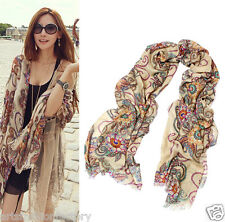 Womens Bohemia Style Soft Voile Fabric Sheer Scarf Fashion Solid Scarves