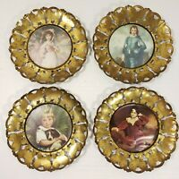 Vintage Brass Boy Girl Wall Art Set  of 4 Round Butterfly Frame  Mid Century