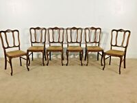 ANTIQUE Set of 6 French Dark Oak Louis XV Rush Seat Dining Side Chairs ~ NICE !!