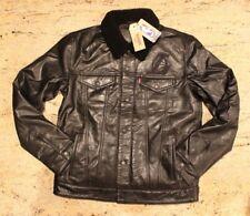 Levi's La Lakers Black Leather Sherpa Jacket Mens Sz S NBA
