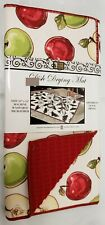 """Kitchen Microfiber Quick Drying Mat, (16""""x 24"""") GREEN & RED APPLES, red by BH"""