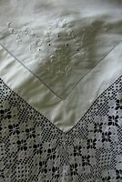 Beautiful Antique French Lace Embroidered Fil de Lin Fine Linen Tablecloth c1900