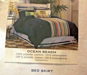 Nautica Ocean Beach King Blue Bedskirt with Colorblock Trim  NWOT