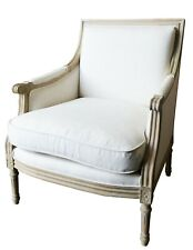 French Provincial Louis XVI Upholstered Arm Chair in Wash White