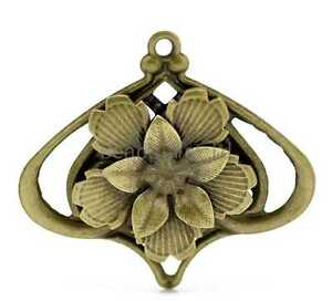 20 Bronze Tone Filigree Flower Charm Pendants Wraps Connnectors Findings 55x50mm