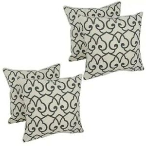 """Blazing Needles 18"""" Corded Throw Pillow Covers Set of 2 Brand New Natural/Black"""