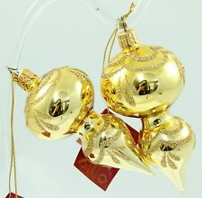 Vintage Gold Glitter Glass Christmas Ornament Holiday Tree Decoration Lot