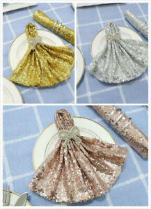"""5pcs 20""""x20"""" Sequins Napkins for Wedding Party Restaurant Holiday Dinner"""