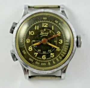 Vintage Swiss Made Basis Sport Manual Wind Stop Chronograph Wrist Watch lot.13