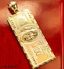 Real Genuine Solid 10k Gold Hundred Dollar Bill Money Pendant Charm Piece