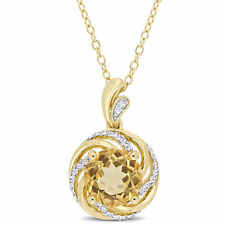 Amour Yellow Plated Sterling Silver Citrine White Topaz Diamond Necklace