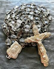 """Vintage Christian Crucifix Rosary with Clear Beads & Leather Pouch - 20.5 """""""