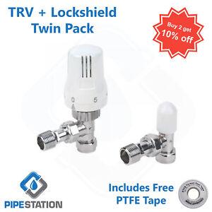 "Thermostatic Radiator Rad Valve Pack 15mm x 1/2"" Angled TRV Lockshield Fast Post"