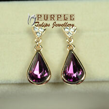 18K Rose Gold Plated Waterdrop Stud Earrings Made With SWAROVSKI Crystals