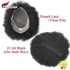 Afro Curl Mens Toupee Lace Poly Skin Human Curly Hair Replacements Jet Black 4mm