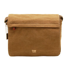 Troop London - Brown Canvas Classic Laptop Messenger Bag with Leather Trim