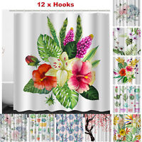 Waterproof Floral Polyester Anti-Mold Shower Curtain Bathroom Valance+12 Hooks