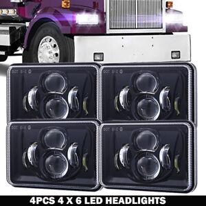 "4X6"" LED Headlight Hi/Lo Light Bulb Crystal Clear Sealed Beam Headlamp 4set 120W"