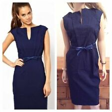Paperdolls Simply Fabulous Size 16 Navy Notch Neck DRESS Belt Party BeEvening