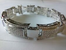 Silver Tone Micropave bracelet simulated diamond hundreds of stones NEW 8.5 inch
