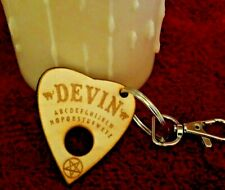 Wooden Planchette Keychain w/ Your Name On It | Custom Engraved Halloween