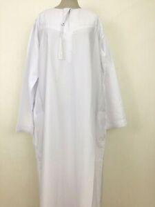 Al Daffa White Thobe Abaya with Omani Stylist Arabic Jubba Islamic Muslim Men