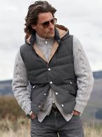 BRUNELLO CUCINELLI Cashmere Wool Silk Down Vest Sleveless Jacket Grey M L XL
