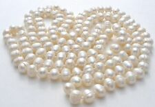 "Freshwater Pearl Rope Necklace Hand Knotted Ringed 50"" Long Flapper Jewelry"
