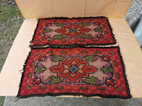ANTIQUE PRIMITIVE OLD HAND MADE PILLOW COVER OR WALL TAPESTRY 2PSC