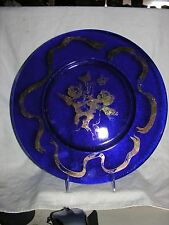 Lg Platter with Cobalt Blue and Painted Gold Angel With Butterfly And Ribbon