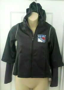 NEW YORK RANGERS Girls Hoodie Size Small 7/8 Double Sleeves Thumb Holes Gray