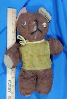 "Antique Mohair Teddy Bear Plush Toy Doll Stuffed Animal 11"" Brown Old Rare"