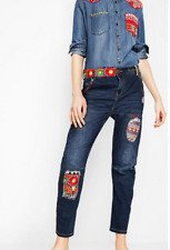 NWT Desigual Denim New Exotic Boyfriend Loose Hips Tight Legs Cropped Jeans 29 6