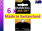 6 x Duracell LR44 SR44 303 357 76A EPX76 SILVER OXIDE BUTTON CELL BATTERY 1.5V