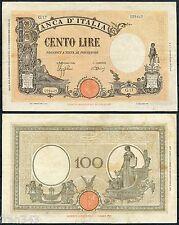 ITALIA ITALY 100 liras lire 1942 Pick 59  MBC  /  VF