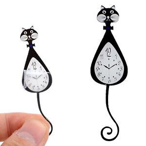 1:12 Dollhouse Miniature Mini Model Black Cat Clock Wall Clock Decoration