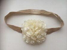Gold Baby Hairband Headband Large Ivory Side Flower Bridesmaid Flower Girl