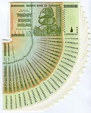 Zimbabwe 20 Billion Dollars x 25 pcs AA 2008 P86 consecutive UNC currency bills