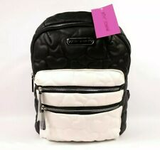 Betsey Johnson Black White Quilted Hearts Small Backpack Purse BM20640 NWT $78
