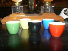 5 anciens godet encrier ou peinture a l'eau en porcelaine peinte
