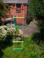 NEW WOODEN COLOUR ROPE LADDER SWING 6 RUNGS