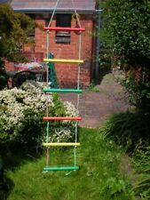 NEW WOODEN COLOUR ROPE LADDER 6 RUNGS