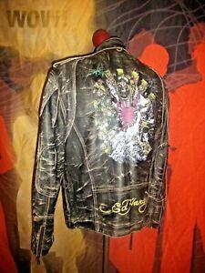 Superb  ED HARDY  Cafe Racer Biker Moto Japanese Graphic Leather Jacket size XXL