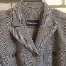 Rena Lange 40/US 8 100% Virgin Wool Brown Herringbone Lightweight Fitted Jacket