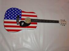 HANK WILLIAMS JR SIGNED FULL SIZE USA FLAG ACOUSTIC GUITAR LEGEND JSA COA