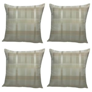 Pack of 4 - Cream Geometric Cross Design Cushion Covers 18x18""