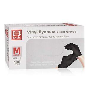 Disposable Medical Black Vinyl Exam Gloves Industrial Gloves -100PCS 8002 Medium