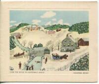 VINTAGE CHRISTMAS RIVER VILLAGE PINK HOUSES SNOW GRANDMA MOSES GREETING ART CARD