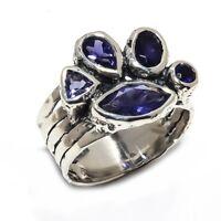 Faceted Iolite Natural Gemstone Ethnic 925 Sterling Silver Ring Size 8 SR-132